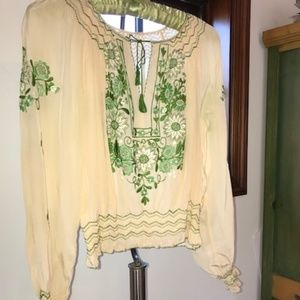 Vintage Hungarian embroidered blouse 30's 40's S